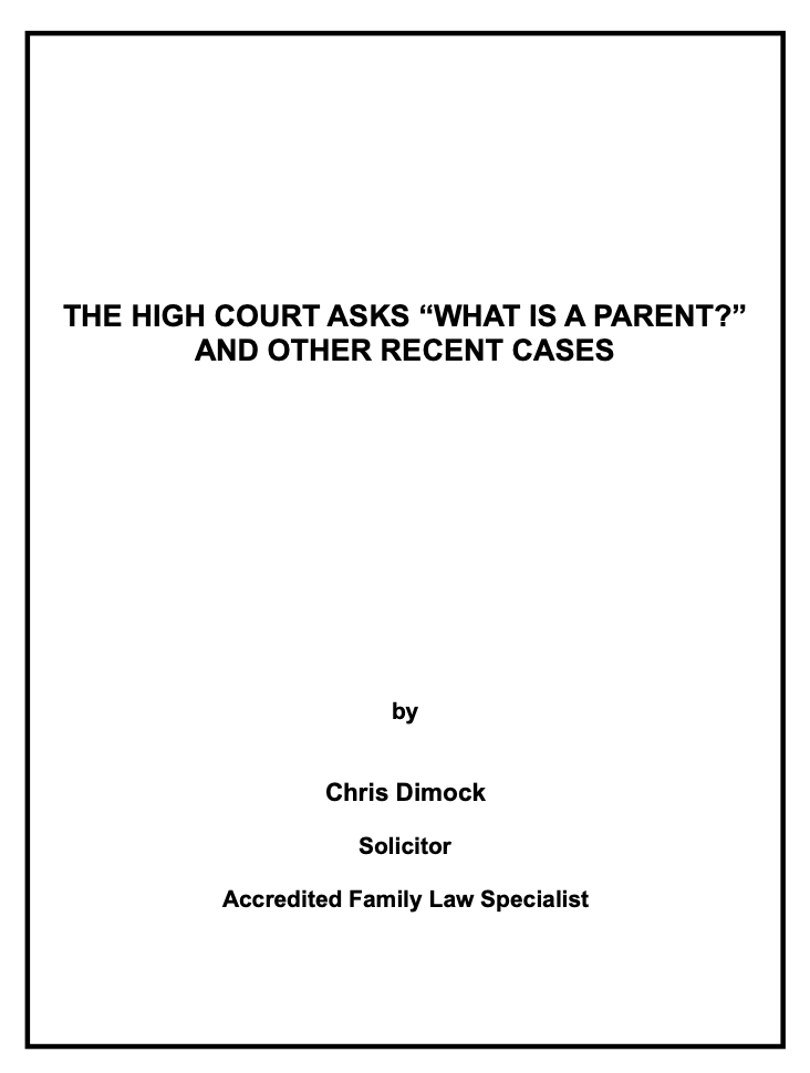 High Court Parenting Cases Family Lawyer Sydney